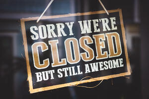 Canva - Sorry Were Closed but Still Awesome Tag
