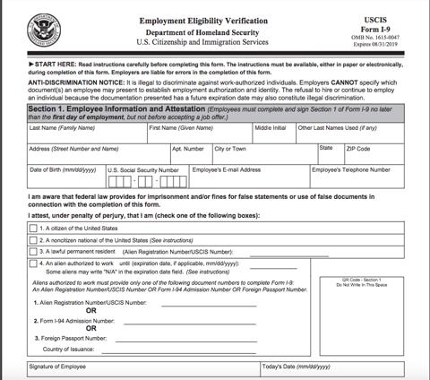 New new I-9 Form